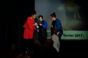 Coritha Pierre, animatrice, Ian Loiseau, parrain d'honneur, et Marie-Andrée Jacques, marraine d'honn